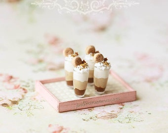 Dollhouse Miniature 1/12 Scale Chocolate Trio Mousse Cup Desserts - Fake Mousse Desserts