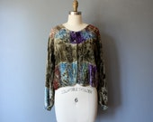 vintage embroidered blouse / cropped velvet jacket / bohemian multi colored blouse