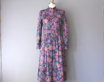 vintage 80s dress / high neck floral dress / puff sleeves dress / size 7/8