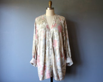 vintage 80s cardigan / slouchy floral sweater / v neck italian sweater / 1X