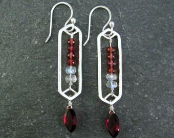 Modern Tribal Earrings Sterling Silver - Burgundy Earrings - Garnet and Rainbow Moonstone Earrings - Long Gemstone Earrings - Gift For Her