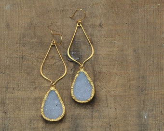 Long White Teardrop Druzy Earrings in Gold