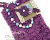 Purple Lace Romper Headband Necklace SET, Purple and Blue Petti Romper And Baby Headband, Baby Outfit, Baby Photo Prop