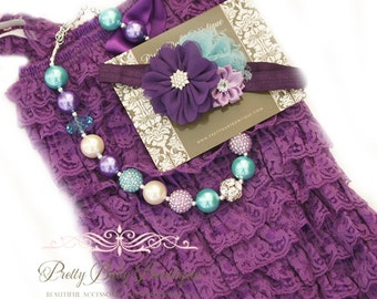 Purple Lace Romper Headband Necklace SET, Purple and Blue Petti Romper And Baby Headband, Baby Outfit, Baby Photo Prop