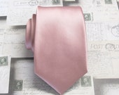 Mens Tie. Dusty Rose Pink Narrow Necktie With Matching Pocket Square Option