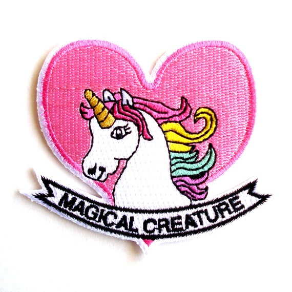 Unicorn Patch Pony Patch Magical Creature Pastel Rainbow Patch Iron on Embroidered Kawaii Patch 90s Badge