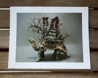 The Art of Patience (Tortoise of Burden) - Original Giclee Limited Edition Print - 8.5x11""