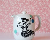 Small teapot mermaid and colorful dots