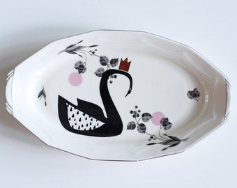 SALE! Crowned swan platter