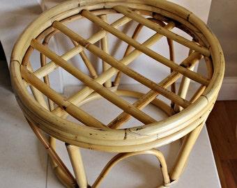 Mid Century Rattan wicker bentwood stool, footstool  credenza ottoman