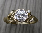 Moissanite Twig & Leaf Engagement Ring: White, Yellow, or Rose Gold; Colorless Forever One™
