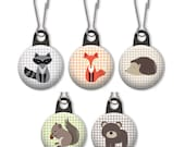 Woodland animal zipper pull.  Forest charm.  Raccoon, fox, hedgehog, squirrel, bear.  Fox charm.  Fox zipper pull.