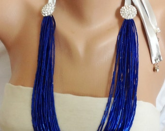 1950's Hollywood Stars Inspired Necklace, Crystal Brooch Necklace, Royal Blue Crystal Tube Beads Necklace