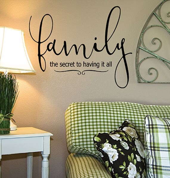 Family vinyl wall decal words dining room decor living room for Dining room vinyl wall art