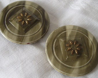 Set of 2 Large VINTAGE Perforated Celluloid & Metal Flower BUTTONS