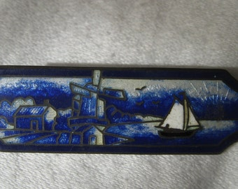 VINTAGE Small Enamel Blue Delft Harbor Sterling Silver Costume Jewelry Brooch
