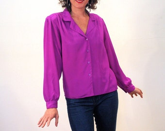 Violet Larkspur, 80s Purple Blouse, Silky Vintage Blouse M, Purple 80s Blouse, Long Sleeve Purple Shirt, Medium