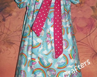 Unicorn and Rainbows Short Sleeved Peasant Dress, Size 3T