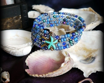 mermaid starfish bracelet, blue beaded bracelet w/ starfish charms, memory wire bracelet