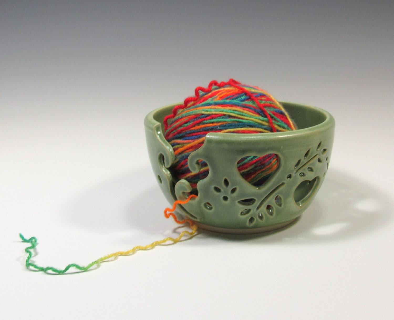 Knitting Yarn Bowl : Yarn bowl ceramic green knitting
