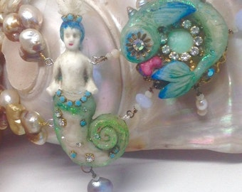 Lilygrace Merman Statement Necklace with Baroque Freshwater Pearls, Chalcedony and Vintage Rhinestones