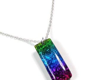 Rainbow Optical Illusion Necklace- polymer clay Jewelry- Resin Pendant- Handmade Necklace- Gifts for Her