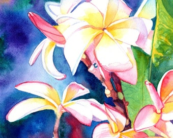 Original Watercolors, Plumeria Paintings,  Tropical Flower Paintings, Frangipani Art, Kauai Fine Art, Hawaiian Original Wall Decor, Hawaii