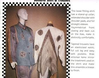 Paw Prints Pattern 011 Asian Samurai Shirt Top Blouse Pants Trousers Sizes XS - 5XL Uncut Vintage Sewing Pattern 1996