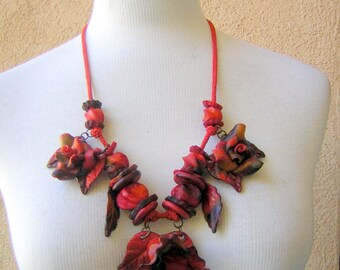 Necklace Chunky Hand Crafted Marble RED Polymer - Tropical Statement Piece