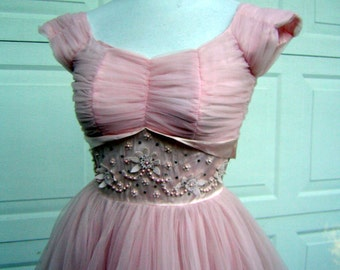 50s Pink Party Dress Shirred Sheer Chiffon Encased Tulle & Gem Encrusted Bodice Fly Away Back Panels Extra Small XS XXS