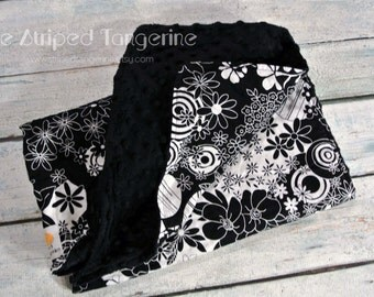 Black & White Modern Floral Print Baby Blanket with Minky Back