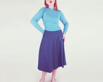"50s Green Blue Tweed Wool Skirt by Bill Atkinson 24"" waist"