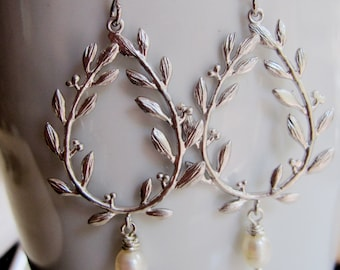Silver Laurel Wreath Teardrop, Pearl Dangle, Olympics, Chandelier Earrings, Wedding Jewelry, Gardendiva