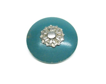 Vintage Brooch Pin Buttons Painted Wood Turquoise Blue Silver Flower Floral
