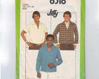 1970s Vintage Sewing Pattern Simplicity 8318 Mens Pullover Jiffy Easy Shirt Size 34 36 1977 70s  99