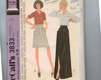 1970s Vintage Sewing Pattern McCalls 3833 Misses Blouse and Skirt with Large Front Pockets Size 12 Bust 34 1973 99