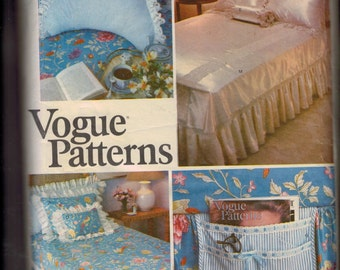 Vintage Sewing Pattern Vogue 2006 Bed Linen Package Husband Pillow Cover Bed Caddy Dust Ruffle Duvet Cover