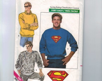 1980s Vintage Sewing Pattern Butterick 5917 Mens Sweatshirt with Superman Transfer Size Medium Chest 38 40 1980s 1987 80s  99