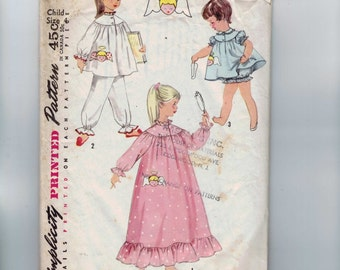 1960s Vintage Sewing Pattern Simplicity 1824 Girls Pajamas and Nightgown with Angel Transfer Size 4 Breast Chest 23 1960s 60s  99