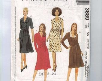Misses Sewing Pattern McCalls 3889 Misses Dress with Surplice Neckline Size 6 8 10 12 Bust 30 31 33 34 UNCUT