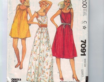 1980s Vintage Sewing Pattern McCalls 7091 Misses Gathered Neck Sundress Dress Loose Fitting Size 10 12 Bust 32 1/2 34 80s 1980 UNCUT