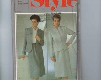 1980s Vintage Sewing Pattern Style 4443 Misses Skirt Jacket Suit Lined Size 10 Bust 32 1/2 Waist 25 1985 80s UNCUT  99