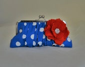 THE LUCY bridesmaid clutch retro wedding red blue white add on a photo lining  ready to ship