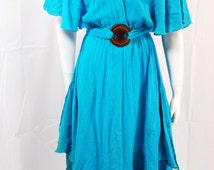 vintage | 70s 80s turquoise gauzy boho belted hi-lo hem midi dress s m