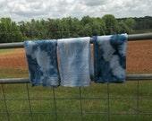 3 Indigo Dyed Towels Indigo Blue Tie Dyed Towels Shibori Kitchen Towels Organic Cotton Towels Shibori Napkins Dinner Beach Decor Set of 3