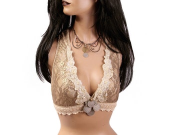 Halter, A or DD Cup, Sepia, Cream, Brass, Bellydance, Costume, Tribal, Fusion, Sequins, Hoop, Kuchi, Carnival, Bra