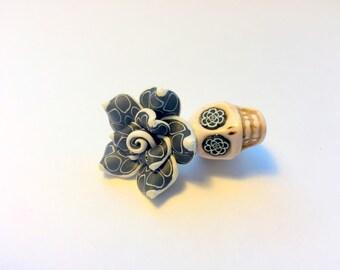 Black and White Polkadot Rose Sugar Skull Day of the Dead Handmade Pendant