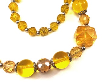 Canary yellow beaded necklace, vintage glass beads