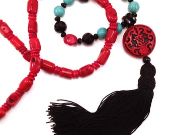 Red black and turquoise Chinoiserie tassel necklace