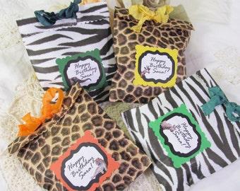 Safari Zoo Party Favor Treat Bags - Leopard Zebra Jungle Animals - Set of 8 - Animal zoo birthday Safari Birthday Shower